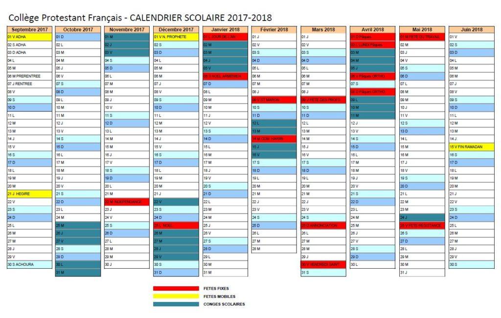 calendrier 2017-2018
