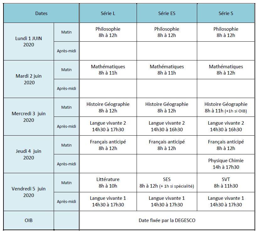 Calendrier épreuves BAC 2020