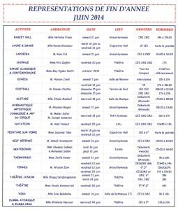 Représentations de fin d'année des activités périscolaires