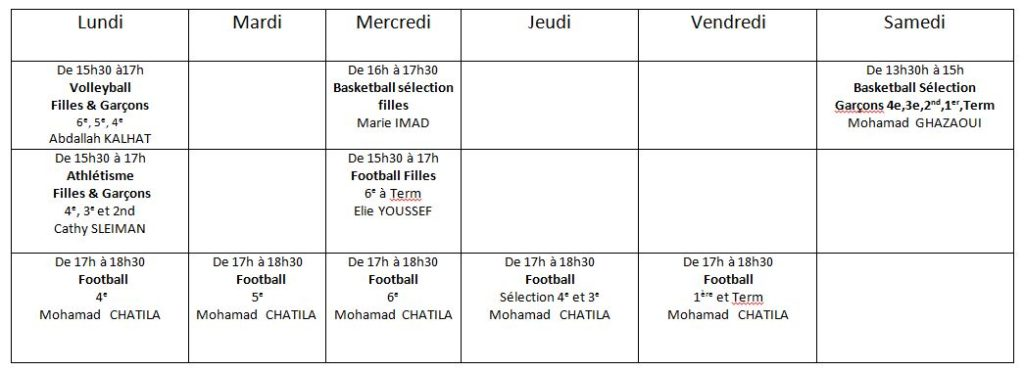 horaire-EPS