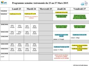 Programme semaine astronomie 23 au 27 mars 2015