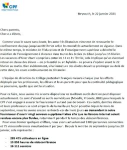 Communication du proviseur - Janvier 2021